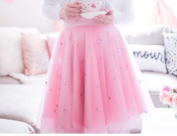 Pink Embellished Tulle skirt