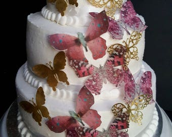 15 Pink and Gold Edible Butterflies Cake & Cupcake Toppers,