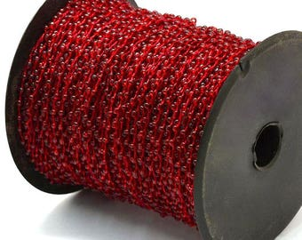 30ft/Spool Red Silver Lined Seed Beads Beaded Cord