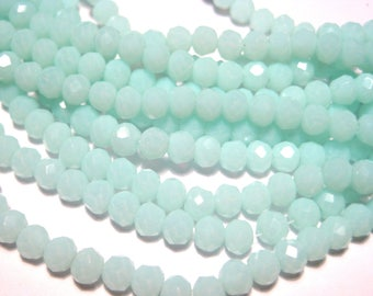1 Strand Light Blue Faceted Rondelle Glass Beads 4x3mm ( No.02)