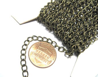 30ft Spool Antique Bronze Iron Side Twist Chain 6x3mm Links-Opened ( No.07ABFF)