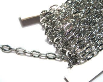 30ft Spool Silver Tone Iron Cross Chains Links-Opened ( No.106P)
