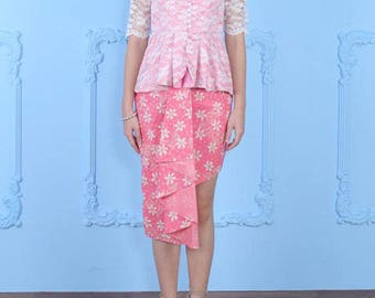 Brocade Kebaya, Ethnic Handmade Dress, Pink Kebaya, Party Dress, Indonesian Kebaya Set And Skirt, Traditional Batik, Kebaya Wedding Dress