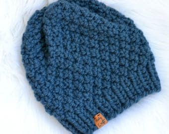 "Handmade Knit Chunky Hat, Knit Pom Pom Hat, Blue Knit Hat, ""Linden Hat"", Available with Faux Fur Pom Pom,  Ready to Ship"