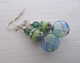 Glasperlen Ohrringe marmoriert Mermaid maritim lang silbern