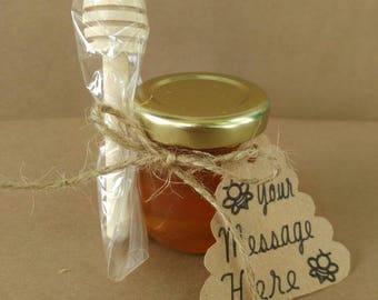 50 honey favors, tags, wood dippers, personalized kraft color hive tag, 1.5 oz jars with pure honey, twine, love is sweet, meant to bee