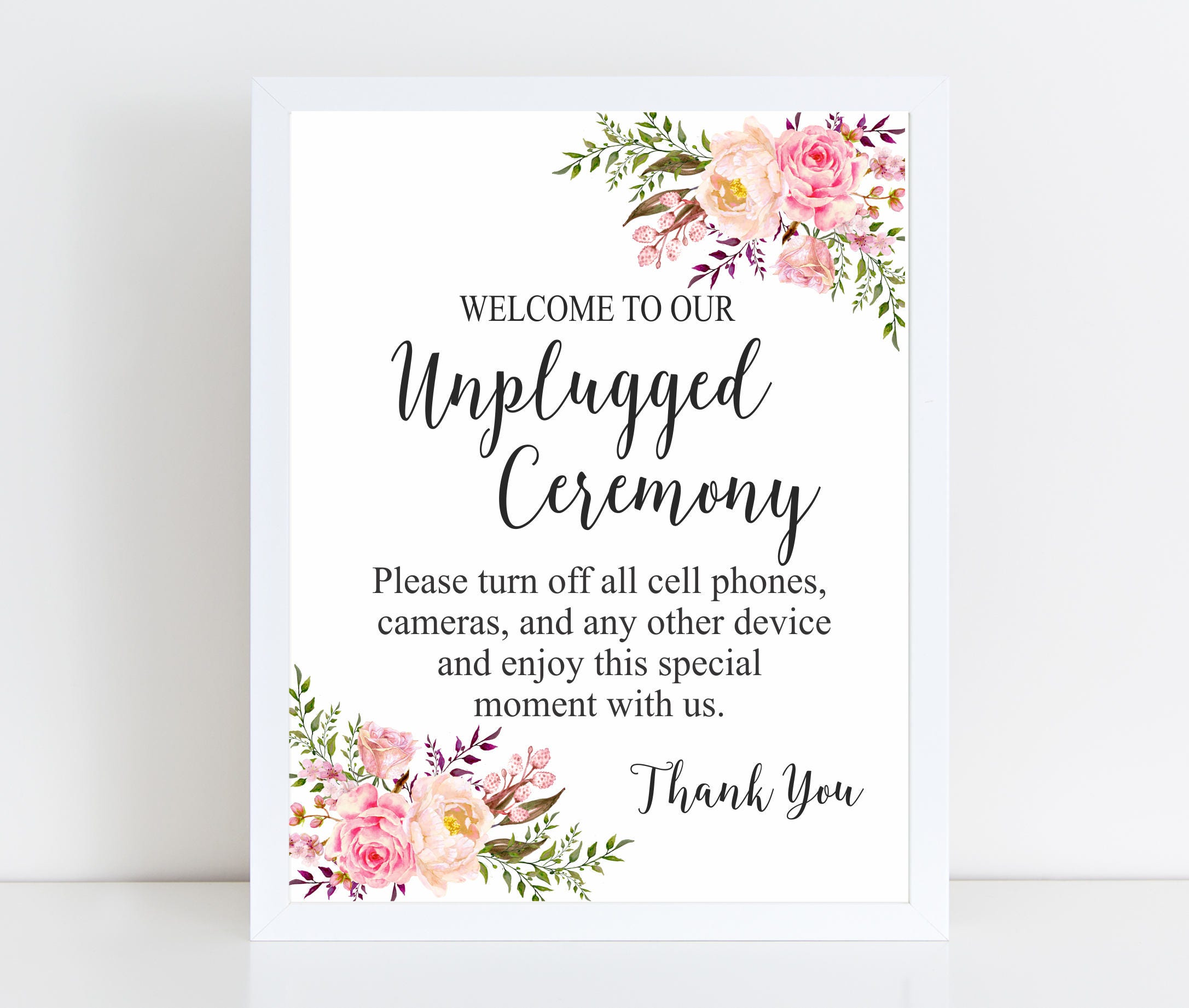 unplugged ceremony sign unplugged sign unplugged wedding sign printable sign floral wedding