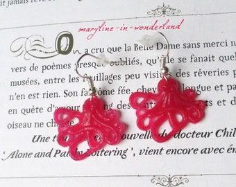 Fuchsia pink Octopus earrings