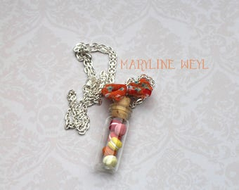 Silver macaroon necklace polymer clay orange bow