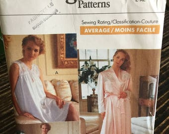 Vintage 1989 Vogue Sewing Pattern No 7653 Size L-XL Misses' Nightgown and Robe