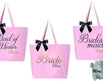 set of 10 bridesmaid tote, bridesmaid bag, bridesmaid gift, personalized tote, canvas tote, bride tote, bridal party totes