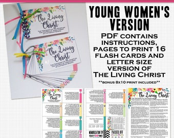The Living Christ Flash Cards- Young Women printable digital file in PDF
