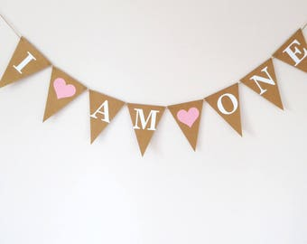 First birthday decoration I am one bunting banner, Custom age