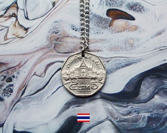 Thai 5 Baht (1988) Handmade Silver Coin Necklace - Silver Plated Chain.
