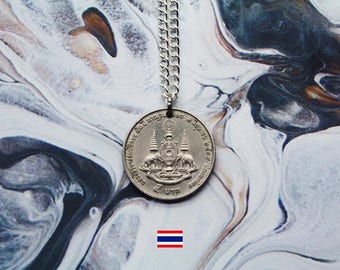 Thai 1 Baht (1996) Handmade Silver Coin Necklace - Silver Plated Chain.
