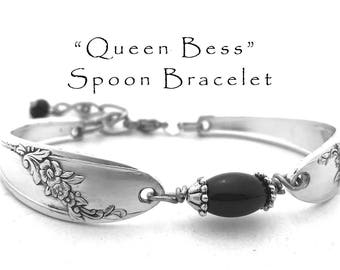 Spoon Bracelet with Onyx, Queen Bess Vintage Silverware Jewelry Flatware Bracelet  Black Onyx Bridesmaid Jewelry Gifts Under 40 Gift for Her