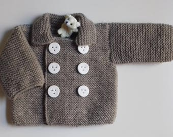 Jacket for baby birth in 24 color months is in hiding knit hand