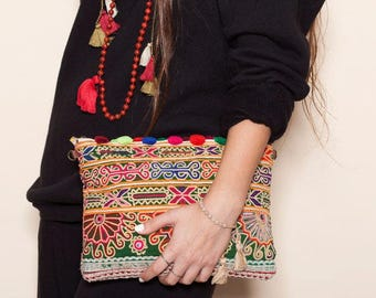 Flash SALE Handbags, Embroidery Bag, OOAK, Clutch Bag, Hand Embroidery, Ethnic Bag, Boho Clutch, Traditional, Pompom Accessories, Summer