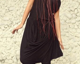SUN SALE 25% OFF Black Harem Jumpsuit / Asymmetric Jumpsuit / Plus Size Black Jumpsuit Tj03