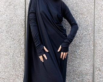 ON SALE Black Maxi Dress, Asymmetric Plus Size Black Dress, Black Caftan, Black Party Dress, Summer Caftan TDK01 by Teyxo