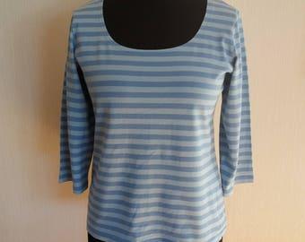 Vintage Marimmeko Womens Light Blue Striped Marine Sweatshirt Size Medium