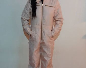 Vintage 80's Sport One Piece Retro Light Beighe Snowsuit Hipster Winter Jumpsuit Size Small to Medium
