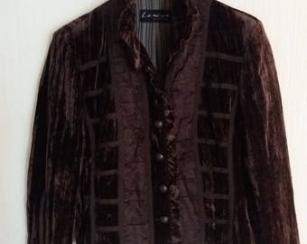Vintage Brown Womens Velveteen Jacket Small to Medium Size