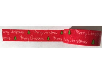 Washi Tape Red Merry Christmas Green Trees 33-feet crafting tape