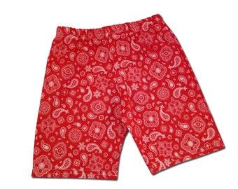 Boy's Red Bandana Western Cowboy Shorts