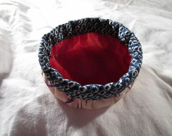 10cm Soft Round Silk Shibori Basket - made with vintage silk Japanese kimono fabric