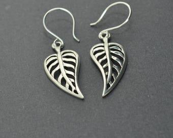 Sterling Silver Leaf Earrings, Sterling Silver Heart Earrings, Dangle Earrings, Skeleton