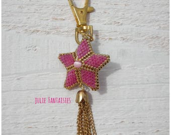 Miyuki Rose and gold beaded star bag charm