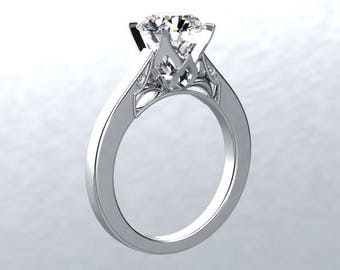 Moissanite Engagement Ring Round 1.0ct Moissanite Round Natural Diamond Accents 14kt White Gold Ring Bloomed Love Pristine custom rings