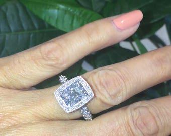Forever One Moissanite Engagement Ring 2.70ct Radiant Cut Moissanite 1.0ct natural diamonds White Gold Buttrfly Ring Pristine Custom Rings