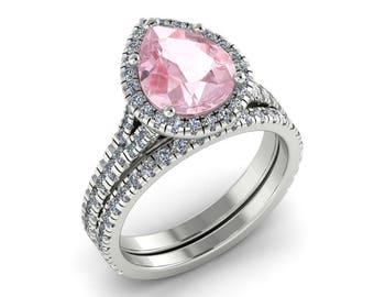 Pear Shape Morganite Wedding Ring Set 1.87ct Pear Shape Ring .92ct Natural Diamonds White Gold Wedding Band set Pristine Custom Rings
