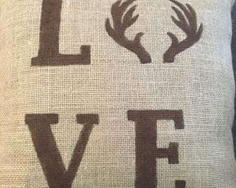 love antler pillow, burlap pillow, love pillow, love antlers, antlers