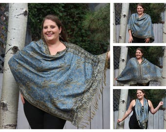 Blue Jean and Gold All-Over Paisley Pashmina Poncho Shawl