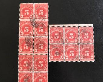 United States vintage postage due stamps 5 cent block/multiple 16 stamps