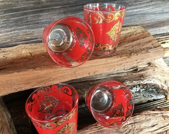 Mid Century, Culver Starlyte Glasses, Set of 4, American Made,  22K Gold Embossed, Rocks ,Modern Bar Cart,  Red and Gold