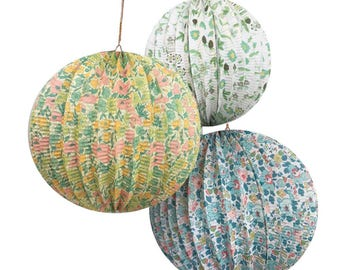 Liberty Paper Lanterns (3), Meri Meri Liberty Paper Globes, Wedding Lantern Decorations, Floral Paper Lanterns, Chinese Lantern, Baby Shower
