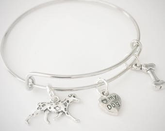 Dalmatian Bangle, Dog Charm Bracelet, Gift for Dog Lover,  Bracelet, Spotty Dog Charm Bracelet, Dog Lover's Gift, Special Gift
