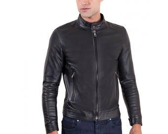 Genuine leather biker jacket, korean collar, smooth soft lamb leather, black color