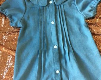 Girls pleated blouse- denim