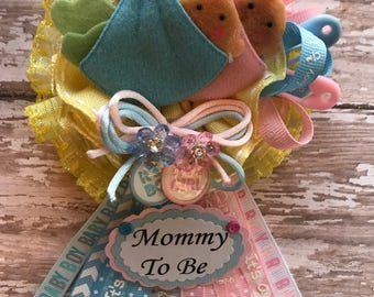 It's a Boy and It's a Girl Twins Babies Mommy to Be Corsage, Twins Baby Shower Corsage, Baby Blue & Baby Pink Twin Baby Shower Corsage