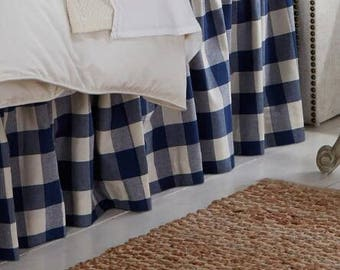Navy Blue Plaid Skirt - Buffalo Check Bed Skirt - Buffalo Check Bed Valance - Country Bedskirt - Buffalo Check Dust Ruffle  - Queen Size