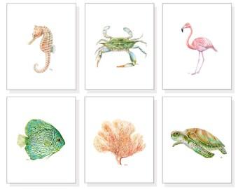 Beach Prints Ocean Prints Sea Prints Beach Art Beach Wall Art Ocean Decor Ocean Watercolor Fish Turtle Crab Coral Seahorse Flamingo Set of 6