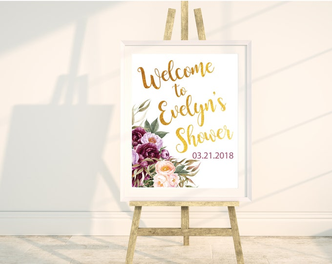 "Burgundy Floral Welcome Sign // Any Occassion // Peonies // Gold // 8x10"" // 11x16 // Purple // Watercolor // Pink // FLORENCE COLLECTION"