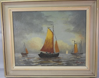 framed oil on canvas of sailboats at sea by Burgy