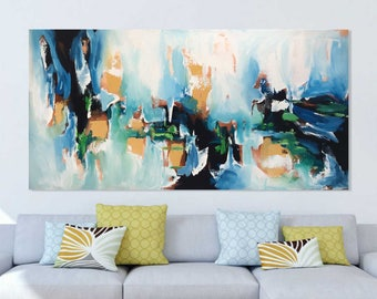 Hand Painted Large Original Painting, READY to HANG Abstract Art, Acrylic Painting on Canvas, XL large Canvas Art. Extra Large Painting Blue