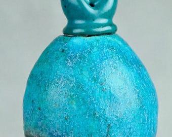Studio Pottery No. 29, Fabulous Hand Built Stoneware 'EGG FORM' Cabinet Bottle with Tri-Lobe Stopper, 2017